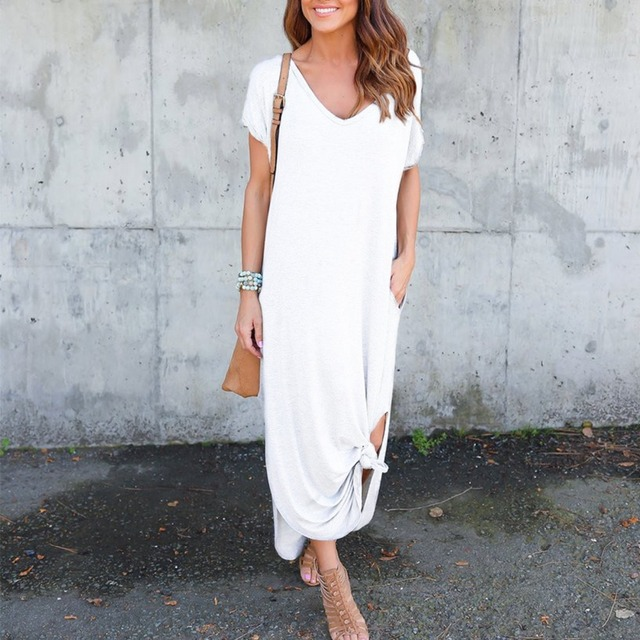 2018 Maxi T Shirt Dress Women Casual Summer Beach Loose Long Dresses Lady Sexy Side Split Party Dress With Pocket Plus Size