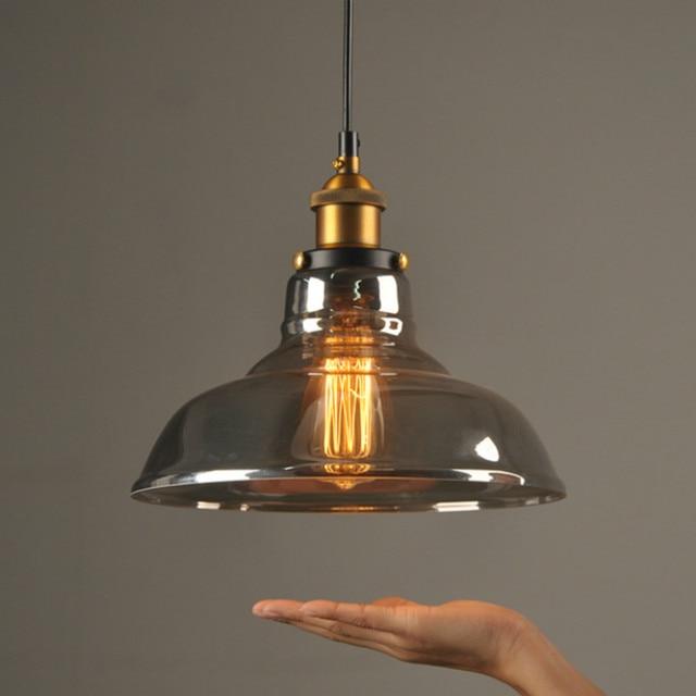 New Style Smoky Grey E27 Pendant Lights Gl Lamp Luminaire Lampshade Hang