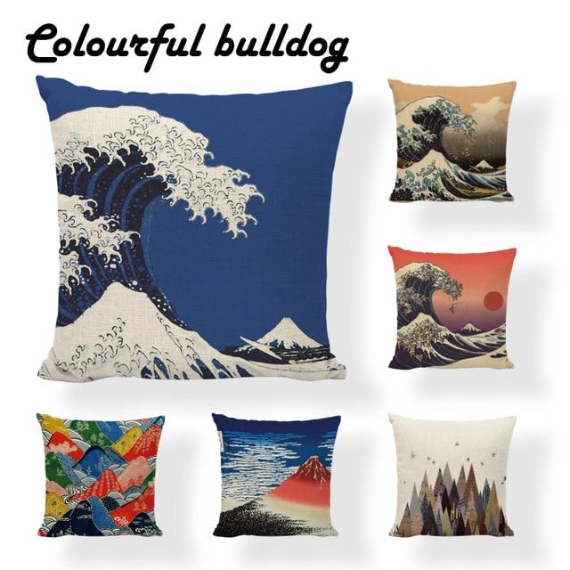Decor Creative Pug Japanese Traditional Painting Wave Sea Cushion