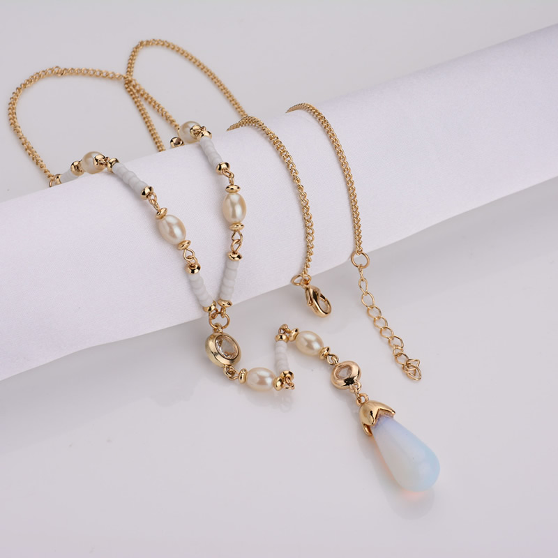 2017 Unique sea opal teardrop bead pendant necklace statement imitation pearl rhinestone chorker necklace jewelry