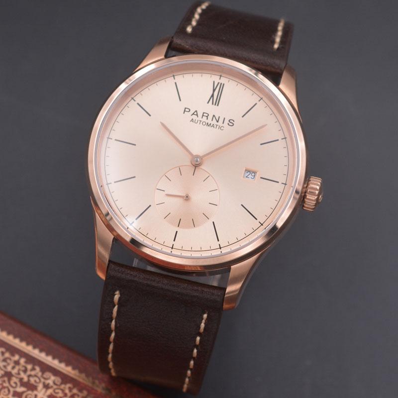 цена Parnis 42mm watch Rose gold case calendar parnis Automatic mechanical men watch Rose gold watch Seagull Movement PN601 онлайн в 2017 году
