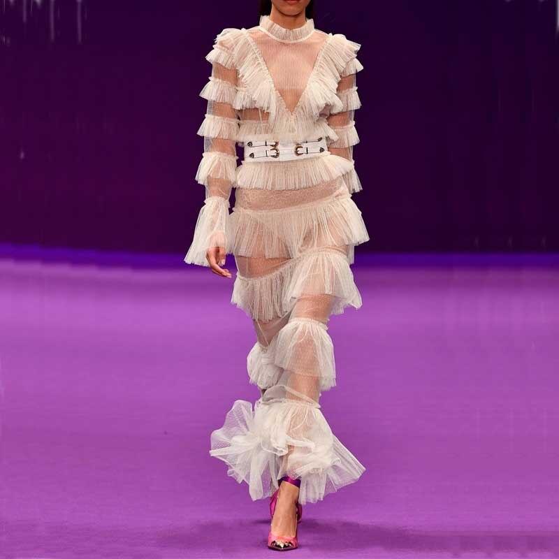 Commercio all'ingrosso 2018 nuovo vestito garza Bianca prospettiva manica Lunga Sottile Sexy del randello di Notte di Un Personaggio Famoso fasciatura Del Partito Abito lungo (H2470)