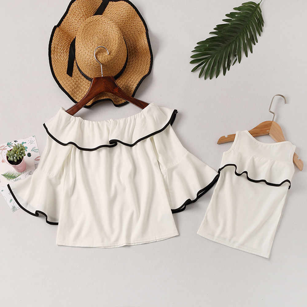 b1528d00cc793 MUQGEW Family autumn off shoulder top baby women top Mommy Me clothes shirt  Womens Floral Lotus Leaf Blouse Casual Family Lady