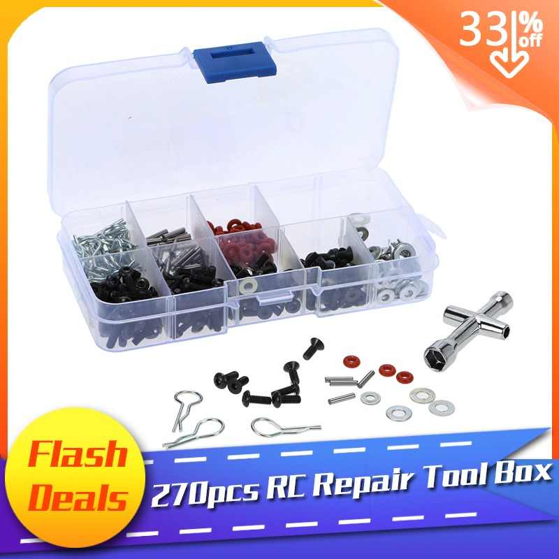 Very practical Special Repair Tool and Screws Box Set for 1/10 HSP RC Car include 270 Pcs Hexagon Wrench Free Shipping