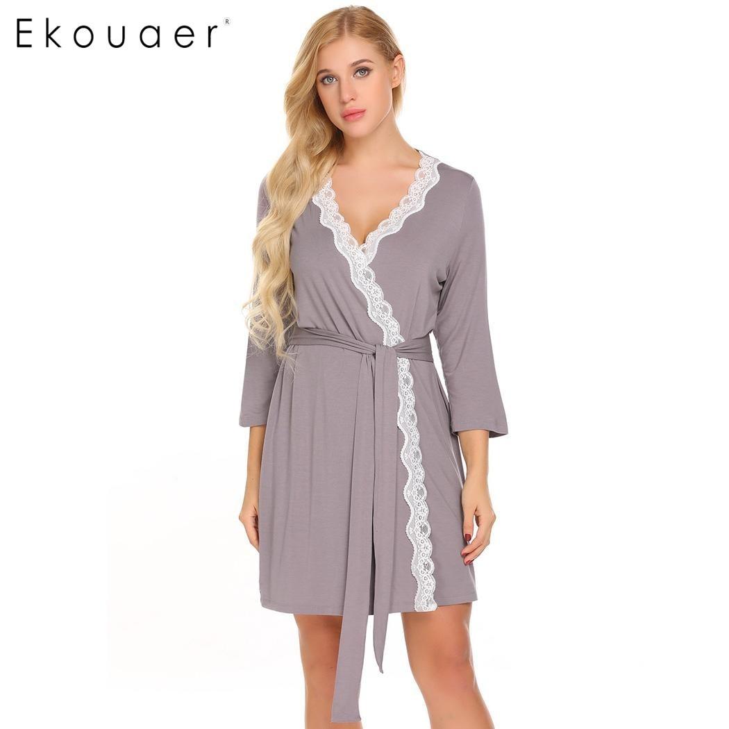 Ekouaer Women Robe Long Sleeve V Neck Lace trimmed Nighties Belt Sleepwear Robes  Bathrobe Gowm Dressing Female Homewear-in Robes from Underwear   Sleepwears  ... c279bd66e