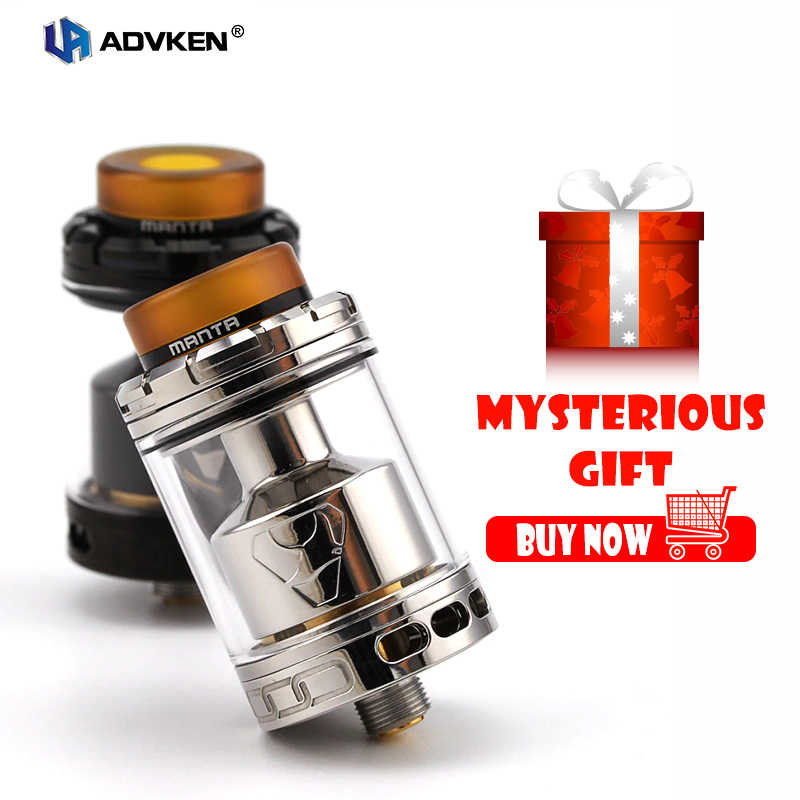 Authentic Advken Manta RTA Tank Atomizer 24mm  5ml/3.5ml Capacity  Big Refill Hole 810 drip tip 510 thread electronic cigarette