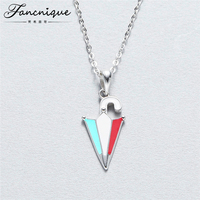Fancnique 925 Sterling Silver Cute Enamel Colorful Small Umbrella Pendant Necklace Teenger Jewelry