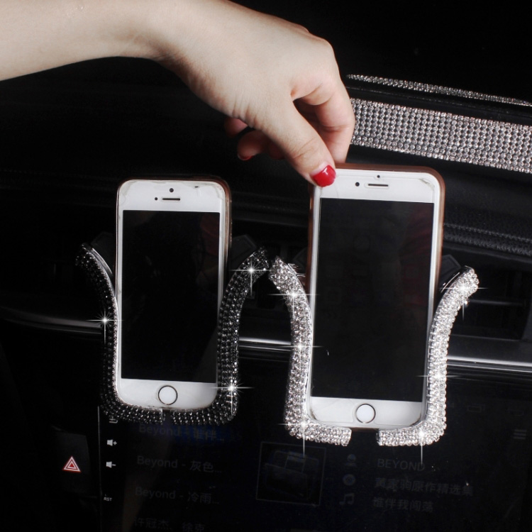 Bling Crystal Car Phone Mount with One More Air Vent Base Sliver Universal Cell Phone Holder for Dashboard,Windshield and Air Vent.