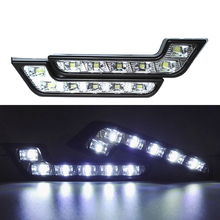 2Pcs/lot Bright White Light 6 LED DRL 7 Shape Car Daytime Running For Audi Mercedes Kia HEHEMM