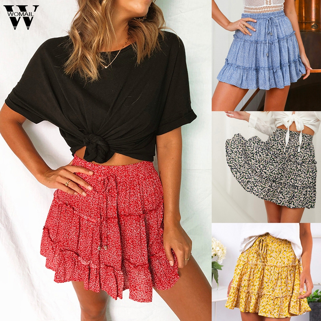 Womail Skirt Women Summer 2019 New Fashion Bohe High Waist Ruffled Floral Print Beach Short Skirt  NEW 2019 M27(China)