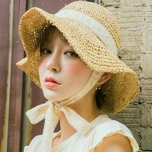 New Bandage Stringing  Summer hat Womens Cotton Wave Brim Sun Hats Foldable Leisure Cap Fashion Sun Beach Caps Literary Girl catalog sun wave