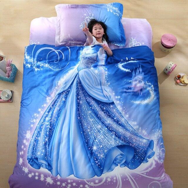 Organic Cotton Brand Designer 3D Bed Linen Cinderella Kids Bedding Set 3D  Comforter Set Girls Anime
