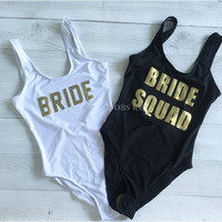 BRIDE SQUAD Thong Swimsuit Sexy Golden Letter One Piece Swimwear Print Bikini Bathing Suit Trikini Beachwear