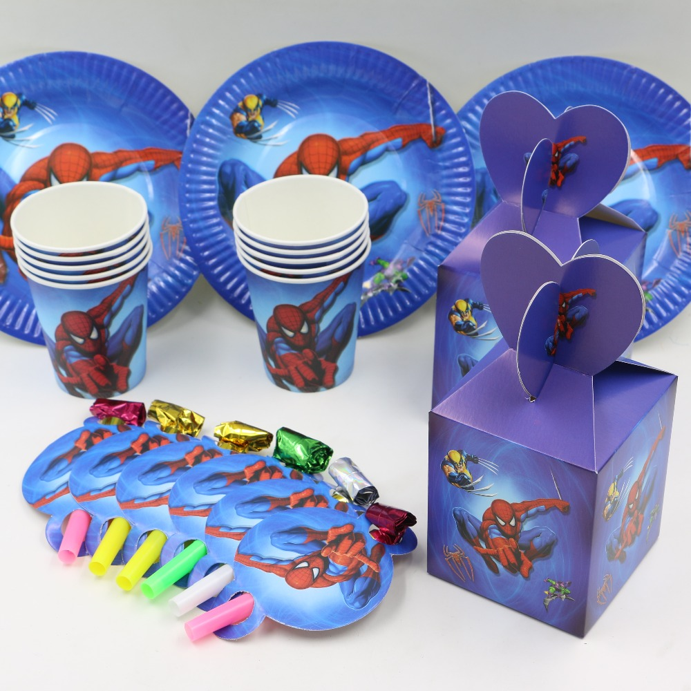 40pcs spiderman kids favors and gift birthday <font><b>party</b></font> decoration plate&<font><b>cups</b></font>&&candy box&whistle 10people <font><b>party</b></font> supplies souvenir