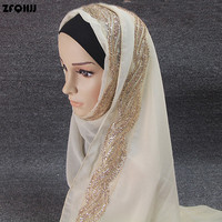 ZFQHJJ 2017 High Quality Plain Bubble Chiffon Shawls Muffler Headbands Popular Hijab Summer GLITTER Side Muslim