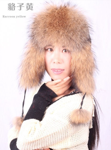 H452~Casual genuine fox raccoon Women warm autumn winter new style cap.Wholesale  Bomber hat with earflap,fur ushanka hat