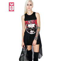 Punk Rock Roll Brand 2017 Skull Totem Summer Fashion Irregular Sleeveless Cotton Dresses Womens Splicing Voile