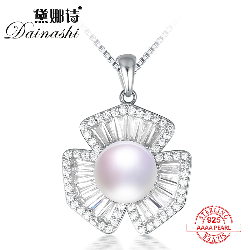 Dainashi 2017 hot sale Luxury and noble clover with Shiny stone silver pearl long necklace fine jewelry for ladys giftDainashi 2017 hot sale Luxury and noble clover with Shiny stone silver pearl long necklace fine jewelry for ladys gift