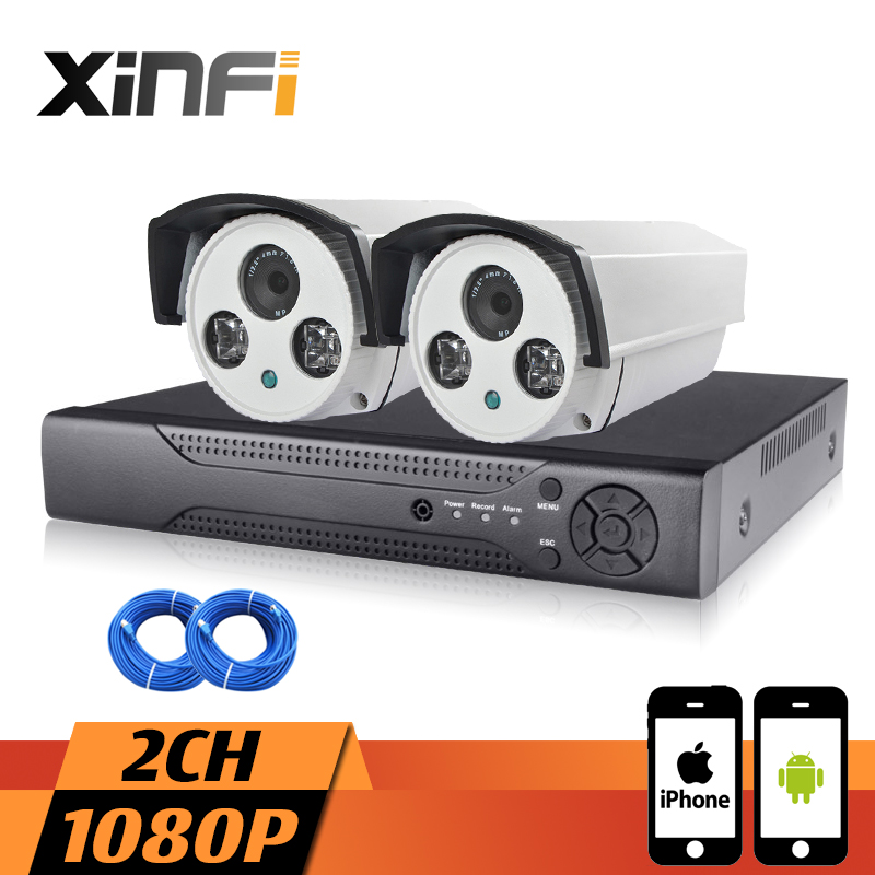 XINFI 2CH cctv system with HDMI 1080P NVR System 2pcs 1080P HD outdoor cmaera waterproof Surveillance 2mp Camera System CCTV kitXINFI 2CH cctv system with HDMI 1080P NVR System 2pcs 1080P HD outdoor cmaera waterproof Surveillance 2mp Camera System CCTV kit