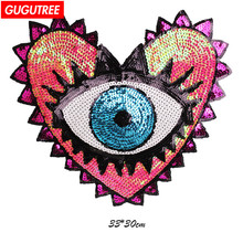 GUGUTREE embroidery Sequins big eyes patches love heart badges applique for clothing ZK-10