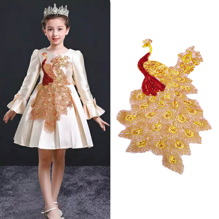 Autumn And Winter Delicate Gold Embroidery Sequins Animal Series Thermal Peacock Children's Clothing Explosion