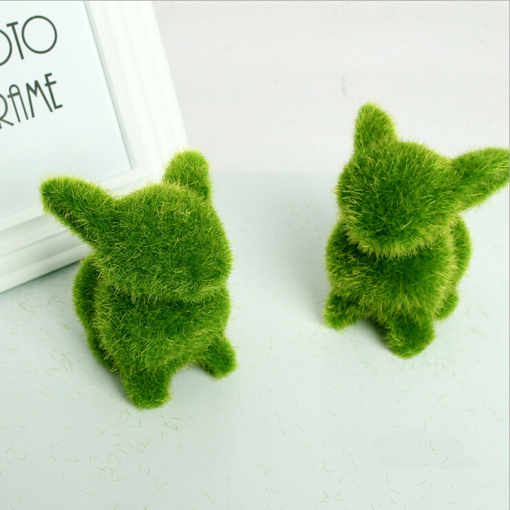 1Piece Rustic Artificial Fresh Moss Balls Decorative Green Plant Home Party Decoration Simulation Pot Rabbit Pattern