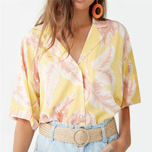 New Spring Summer Chiffon Casual Shirts for Women Plus Size Ladies Short Sleeve Print Blouses Female Blusas Mujer Yellow Orange цена
