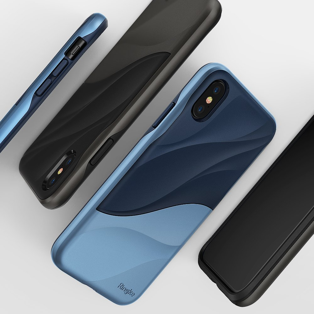 buy online 16ad4 184fc Ringke Wave for iPhone X Case Ergonomic Design Dual Layer Heavy Duty  Protection Cover Soft Silicone and Hard PC Cover