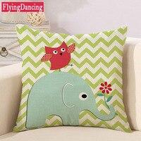 Cute Elephant Cartoon Cushion Decorative Square Pillows Linen Cushions Throw Pillow Sofa Car Seat Home Decor