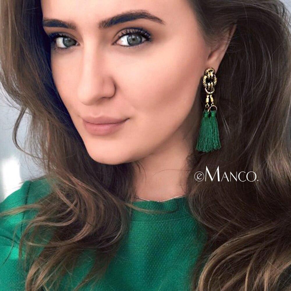 eManco boemski uhani z rese, viseče kapljice za ženske izjave uhani zeleni vintage viseči uhani nakit 8 barv
