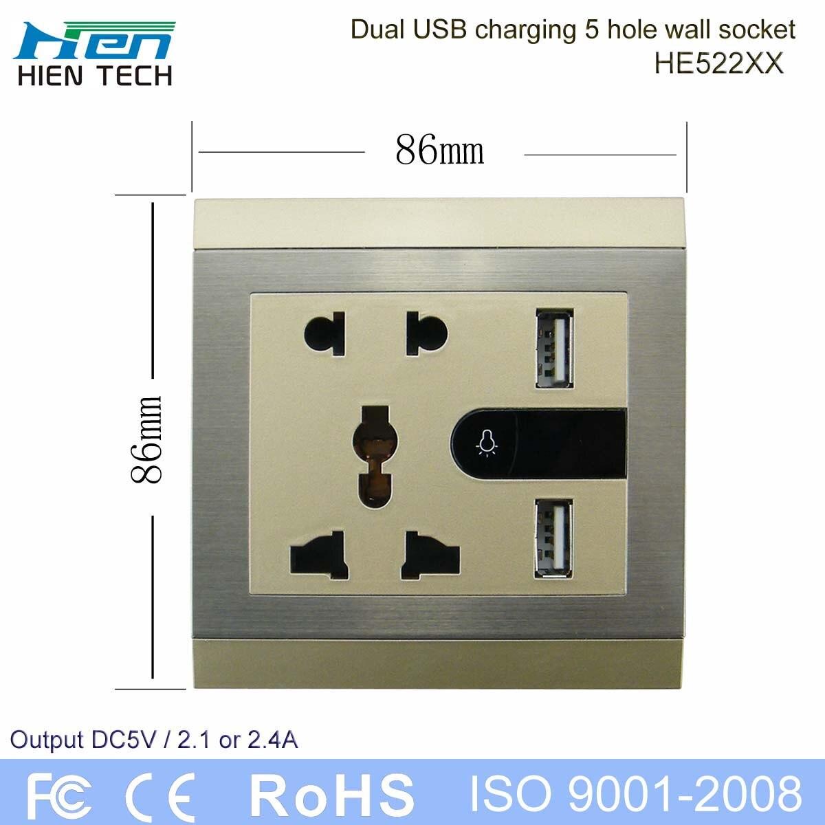 5 pin plug hole wall switch socket outlet usb 5v 2 1a wall socket rh aliexpress com