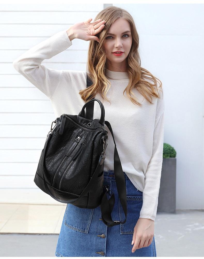 HTB1E.lPbtfvK1RjSszhq6AcGFXap Female backpack mochila feminina casual Multifunction Women Leather Backpack Female Shoulder Bag Sac A Dos Travel Back Pack