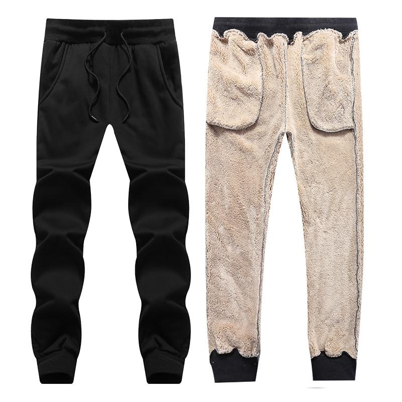 Loldeal Man Winter Warm Plush Pants Drawstring Sweatpants Mens Trousers Fashions Heavyweight Harem Pants