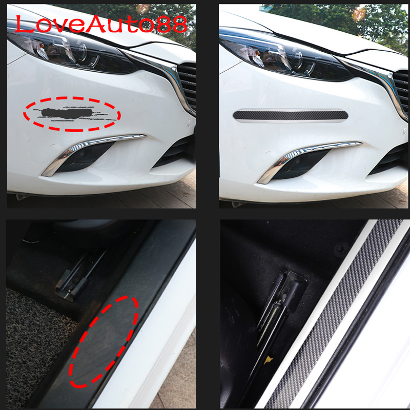 Image 5 - Door Sills Protector Sticker Carbon Fiber Car Stylings Door Sill Scuff Plate Guards For Kia Sportage QL sorento-in Interior Mouldings from Automobiles & Motorcycles