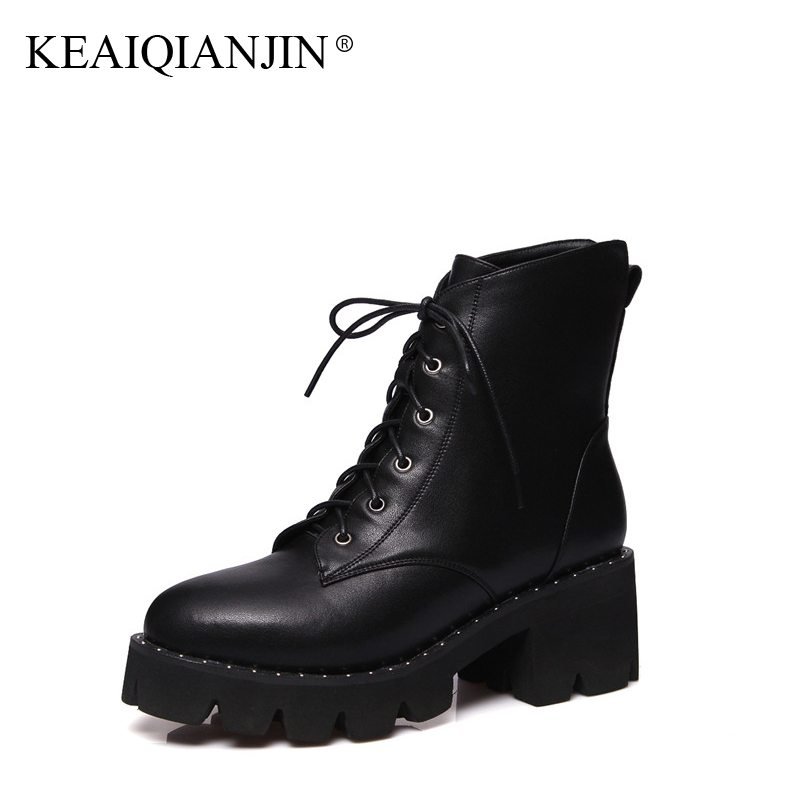 KEAIQIANJIN Woman Gothic Shoes Rivet Black Autumn Winter Motorcycle Boots Plus Size 34 43 Genuine Leather