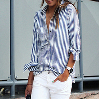 Fashion Stripe Print Turn-Down Collar Women Blouse Loose Office Lady Striped Shirt Blouses Blouses