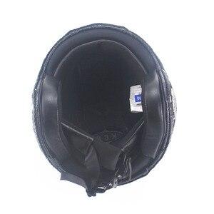 Image 5 - Dorosłych skórzane kaski 3/4 kask motocyklowy wysokiej jakości rower chopper kask otwarta twarz rocznika motocros