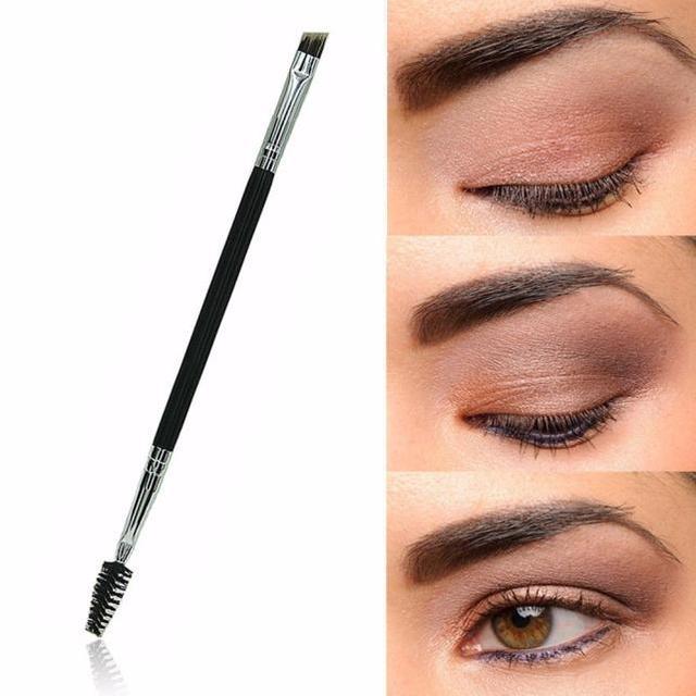 Brocha de maquillaje sintético con mango de bambú doble portátil sin pelusa cepillo de cejas duradero herramienta cosmética de ojos brochas de cejas