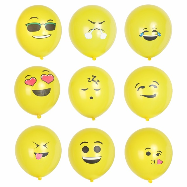 12pcs/lot 12inch Latex Smiley Face Emoji Balloon Happy Birthday Decoration Inflatable Balls Wedding Party Balloons Kids Toys