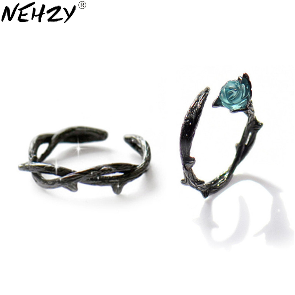 NEHZY 925 sterling silver new Jewelry Fashion retro brand creative rose ring thorns couple silver on the Zircon pearl ring