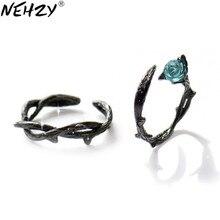 NEHZY-Anillo de plata de primera ley y circón para mujer, sortija, plata esterlina 925, Circonia cúbica, zirconia, circonita, zirconita, diseño creativo, Rosa