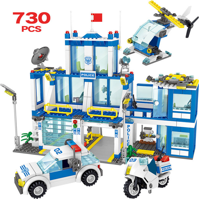 730PCS Kenya Police Headquarters Bricks Compatible City Police Station Building Block Police Car Toys For Children