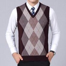 Новинка, модные брендовые свитера, мужские пуловеры с v-образным вырезом, Облегающие джемперы, вязанные, без рукавов, Осенние, корейский стиль, повседневная мужская одежда