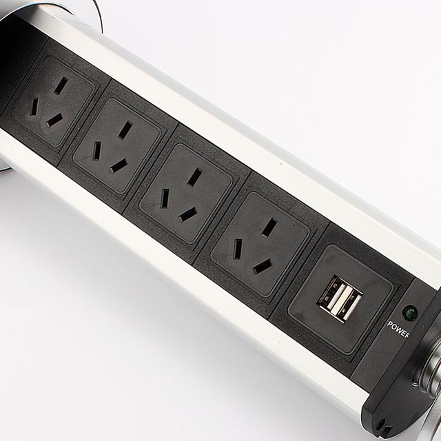 EU/AU Plug 220V Dual USB Port Electric Wall Charger Dock Socket Pull Up usb Wall Outlet Retractable Universal Wall Socket