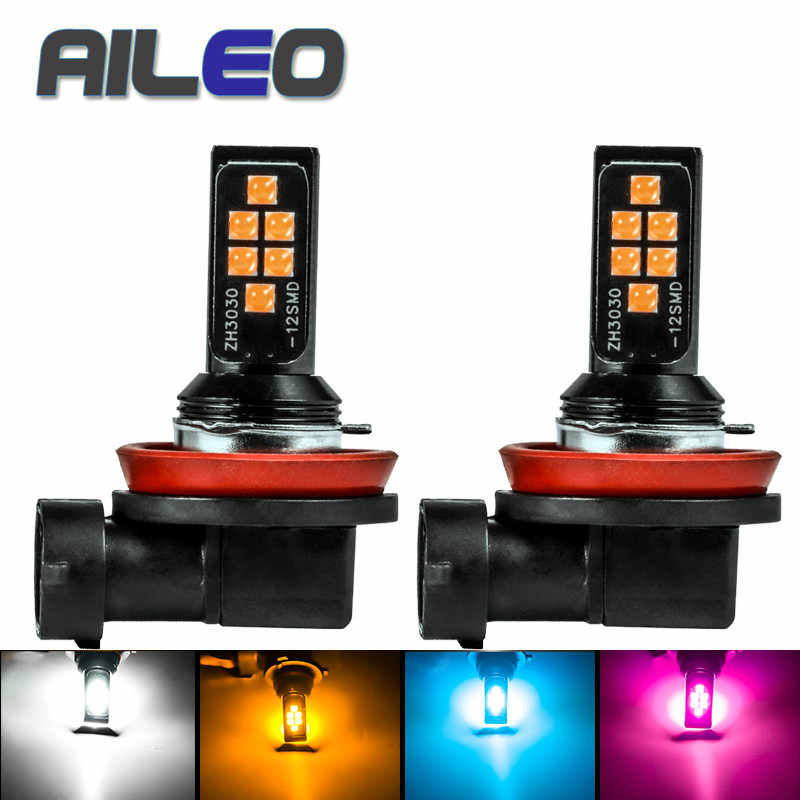 AILEO H11 H8 LED Bulb 3030SMD Car Fog Lights 9005 HB3 9006 HB4 H10 9145 H16(JP)  3000K purple blue Driving Day Running Lamp Auto