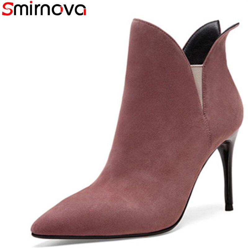 Negro Dedo Llegada Botas Tacones Para Thin Zapatos Nueva Cuero Mujeres Las  Smirnova Pie 2018 De Fiesta ... c9982a4e3349