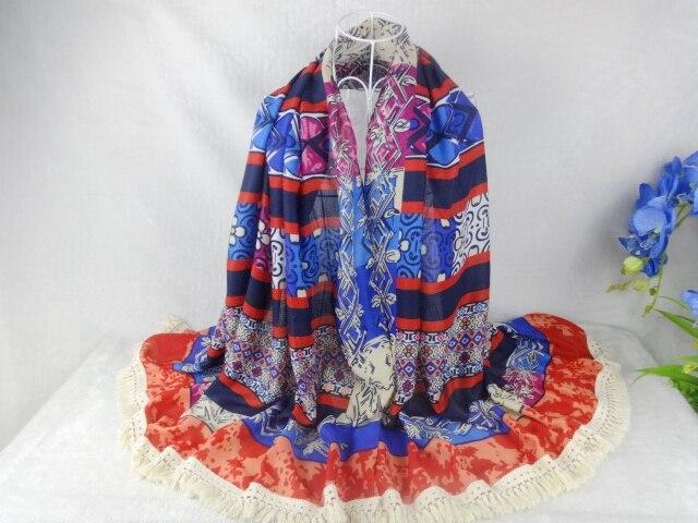 10 шт./лот геометрическим принтом вискозные шали женский шарф с кисточками-мусульманского хиджаба, бандана, пончо, шали и шарфы с ацтекским узором