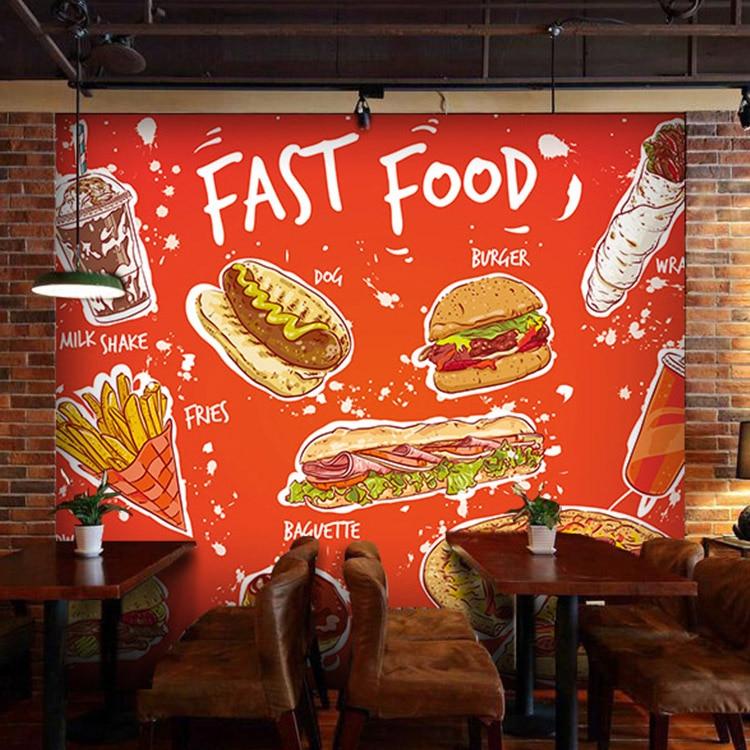 Custom 3d Mural Hamburg Pizza Fast Food Wallpaper