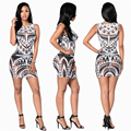 New 2016 Poloyester Summer O-Neck Sexy Club Party Dress Digital Mesh Print  Bodycon Mini Dresses For Women