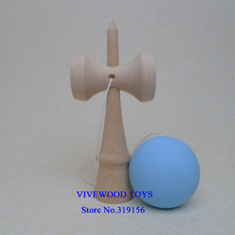 Резиновая кендама, Традиционная японская Kendama 18 см Kendama(резиновая краска, лучшее трение) из бука, Pro Kendama - Цвет: Sky Blue Rubber